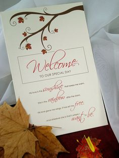Seasons of Love Autumn Branches and Leaves Booklet Wedding Ceremony Program - Sample. $3.00, via Etsy.
