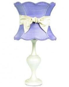 Pearl Lamp Base with Lavender Shade and Ivory Sash $254.00 (USD).  Product in photo is from www.wellappointedhouse.com