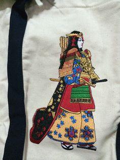 canvas bag with batik and embroidered Tomoe Gozen. IDR 470,000/USD 50. whatsapp +628170074777 or www.kalimayashop.com