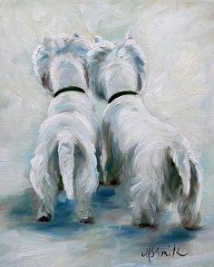 Adorable Westie oil painting.