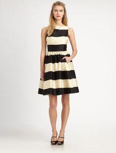 kate spade black & white dress   Kate Spade Cottonsilk Carolyn Dress in Black