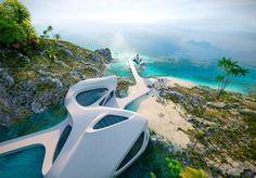 Eduard Galkin Conceptual Architecture, Organic Architecture, Amazing Architecture, Cliff House, House On The Rock, Villa Design, Tropical Houses, Interior Design Tips, Airplane View