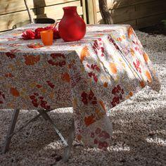 Nappe rectangulaire fleurs coton/lin enduit BLUM