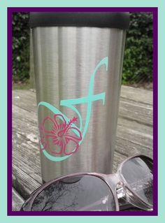 monogramm decal vinyl decorated flower Hawaiian sticker customized #etsy #babyshoweridea