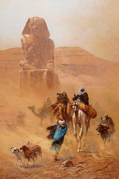 Moors on Camel in Egypt - Ludwig Hans Fischer 1891 Art Arabe, Empire Ottoman, Arabian Art, Academic Art, Arabian Nights, Egyptian Art, Art Design, Islamic Art, Art History
