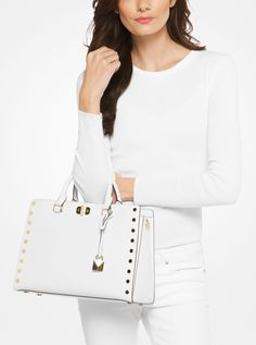 MICHAEL KORS Sylvie Large Studded Leather Satchel. #michaelkors #bags #polyester #leather #lining #satchel #shoulder bags #hand bags #