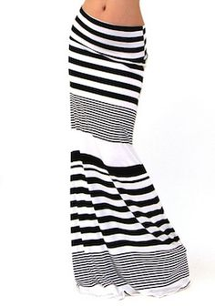 Black and White Striped Maxi Skirt | SexyModest Boutique