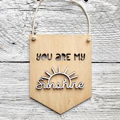 """Etch'd Designs on Instagram: """"With winter coming, these banners will be sure to keep on shining ☀️ . . . #youaremysunshine #woodbanner #yeg #woodwallflag #kidsroomdecor…"""" Winter Coming, You Are My Sunshine, Banners, Kids Room, Room Decor, Instagram, Design, Room Kids, Banner"""