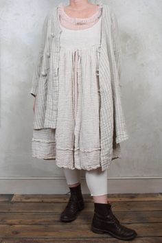 Les Ours | Odile Jacket with Diagonal Fastening in Striped Soft Linen | Sylvais Net Top with Ruffle Neckline in Rose | ZouZou Smock Dress with Lace Trim in Cream | www.oliviamay.org