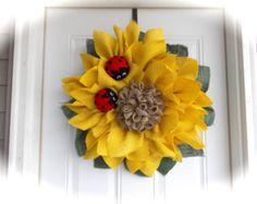 Customize your wreath Sunflower Center by JuliesWreathBoutique