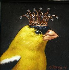 STEVEN KENNY Royal Gold Finch : Oil on Panel 7x7