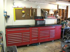 Workbench to House HF Tool Cabinet? - Page 2 - The Garage Journal Board Workbench Designs, Workbench Ideas, Garage Workbench, Built In Storage, Storage Bins, Tool Storage, Workshop Layout, Garage Workshop, Garages