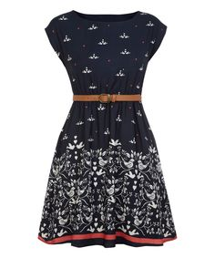 Navy & White Dove Belted Cap-Sleeve Dress