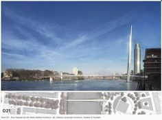 Image 3 of 5 from gallery of 4 Teams Shortlisted In Nine Elms Bridge Competition. Buro Happold Ltd with Marks Barfield Architects, J&L Gibbons Landscape Architects, Gardiner and Theobald. Image Courtesy of Nine Elms Vauxhall Partnership Hopkins Architects, Cities, Battersea Power Station, Pedestrian Bridge, New London, London Bridge, Amazing Architecture, Modern Architecture, Westminster