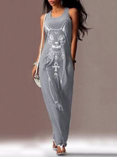 fb11db32dc13 Cat Printed Straps Sleeveless Maxi Dress – chicboho Spring Outfits Women