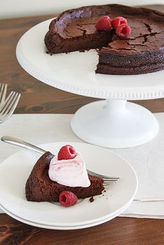 Flourless Fudge Cake with Raspberry Whipped Cream
