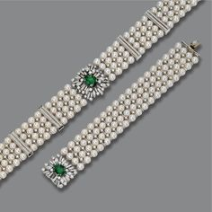 EMERALD, DIAMOND AND CULTURED PEARL CHOKER-NECKLACE AND BRACELET Each decorated in four rows with numerous cultured pearls measuring approximately 6.9 mm., the necklace centering a floral motif set with an oval emerald weighing approximately 4.20 carats, framed by round, baguette and marquise-shaped diamonds, the spacer bars set with additional round diamonds, altogether weighing approximately 13.70 carats; the bracelet clasp set with an oval emerald weighing approximately 4.20 carats…