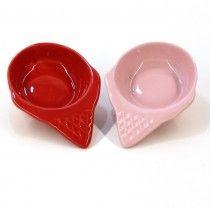 Conjunto com 2 Pratinhos Sorvete Rosa e Vermelho