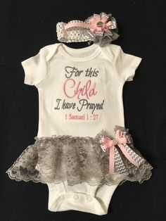 For This Child I Have Prayed Newborn Baby Girl's Coming Home Outfit Bodysuit Attached Lace Ruffle Skirt, Detachable Bow & Headband. 0-18M by PurttyStitches on Etsy https://www.etsy.com/listing/288415047/for-this-child-i-have-prayed-newborn