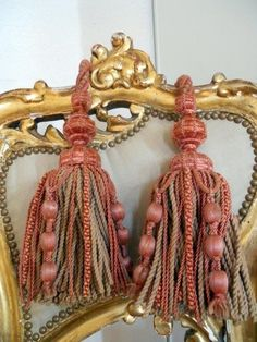 2 antique french tassels silk passementerie lyon old pink and cream