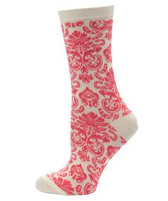 Coral (Orange) Pink and White Baroque Print Socks | 276750183 | New Look