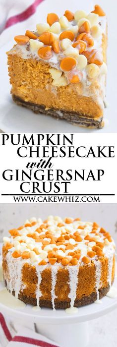 Rich and creamy PUMPKIN CHEESECAKE recipe with gingersnap crust and white chocolate ganache glaze. Lots of tips and tricks for making perfect cheesecake every time! {Ad} From http://cakewhiz.com
