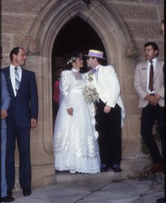 Renata Blauel and Elton John, 1984 ...i hate this dress, but its Elton..married to a woman which i did not know went down