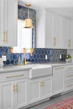 Hex Tile Backsplash in Glossy Navy Blue - Transitional - Kitchen - Austin - by Fireclay Tile Kitchen Redo, Home Decor Kitchen, New Kitchen, Home Kitchens, Blue Kitchen Ideas, Crisp Kitchen, Blue Kitchen Designs, White Kitchen Inspiration, Kitchen Taps