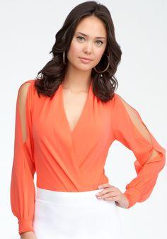 bebe   Long Sleeve Silk Wrap Bodysuit - View All