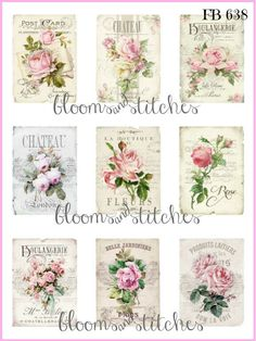 Shabby Chic Vintage French Pink Roses 9 Small Prints on Fabric Quilting FB 158 Shabby Chic Stil, Estilo Shabby Chic, Shabby Chic Pink, Shabby Chic Kitchen, Shabby Chic Homes, Shabby Chic Decor, Shabby Cottage, Country Kitchen, Shabby Chic Christmas