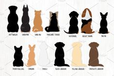 The sitting dogs from behind bundle is here! Check out my additional pet clipart: ► Dog Breeds Included: Golden Retriever, Beagle, Basset Hound Dog, Shiba Inu, Sitting Dog Drawing, Sillouette Painting, Poodle Drawing, Tattoos Skull, Dog Silhouette, Dog Illustration