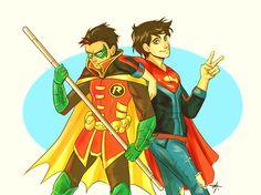 Super kids. Robin and Super Boy. Damian Wayne and John Kent.