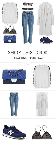 """""""518 - Brunch With Friends"""" by caroline-mathilde ❤ liked on Polyvore featuring Chanel, Ganni, H&M, New Balance and Julie Fagerholt Heartmade"""