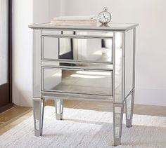 Mirrored furniture always makes a bold design statement. Framed in hardwood, the Park Nightstand is mirrored on the front, sides and top, and beautifully evokes the symmetry of early Empire furniture. Mirror Bedside Table, Mirrored Nightstand, Mirrored Furniture, Dresser With Mirror, Bedroom Furniture, Home Furniture, Bedroom Decor, Master Bedroom, Bedroom Ideas