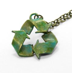 Trendy Recycle Necklace, Teal Recycle Necklace, Earth Necklace, Recycle Necklace. $15.00, via Etsy.