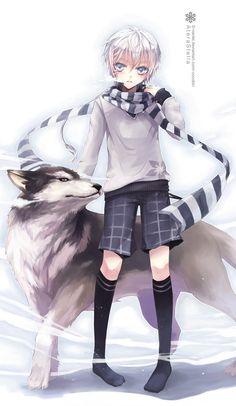 Jung, weiße Haare, blaue Augen, Schal, Wolf, Hund, Shorts