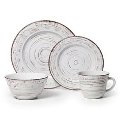 Pfaltzgraff Trellis 16-piece White Dinnerware Set | Overstock.com Shopping - The Best Deals on Casual Dinnerware