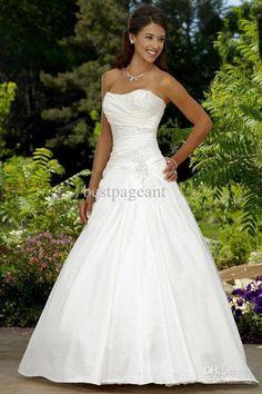 Sexy Sweetheart Taffeta A line Wedding Dresses With Floor-Length Beaded Ruffle Sleeveless And Lace-Up Top Custom-Made 11i