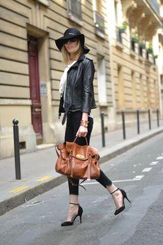 Leather jacket, skinny jeans, Mulberry Alexa, Felt hat