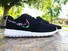 Womens custom Nike Roshe Run sneakers, black and white, hot pink, lime green, blue and pink, tribal design, abstract design