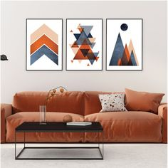 Set of 3 navy blue and burnt orange printable wall art #printableart #downloadableprints #geometricprints #burntorange #navyblue #trendingartnow #urbanepiphany