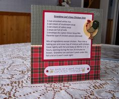 6x6 Easy Chicken Recipe Card by durhamzoo - Cards and Paper Crafts at Splitcoaststampers