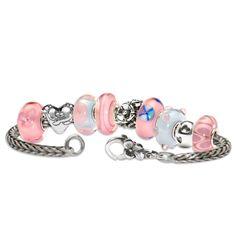 16-109 Trollbeads Pink Hearts & Flowers Starter Bracelet