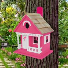 Wooden Bird Houses, Bird Houses Painted, Painted Birdhouses, Small Birds, Better Homes And Gardens, Bird Feathers, Pink Flowers, Flamingo, Pink White