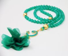Pastel green tasbeeh, 99 count jade beads, Arabic waw letter charm, Gold plated counters, Misbaha,Masbaha,Tasbih,Islamic Rosary,Prayer Beads by Vanilleecom on Etsy