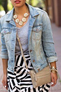 black and white skirt, grey tee, denim jacket-6.jpg