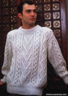 Пуловер из аранских узоров для мужчин