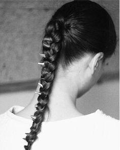 Spiked Braid, love it!   #hair #braid #ponytailbraid
