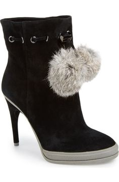 BCBGMAXAZRIA Perry Ankle Bootie, Black Suede with Rabbit Puffballs