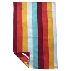 Striped tea towels complete with hanging corner tags. Bright Kitchen Colors, Bright Kitchens, Yellow Towels, Oven Glove, Quality Kitchens, Striped Wallpaper, Striped Fabrics, Chair Covers, Orange Yellow